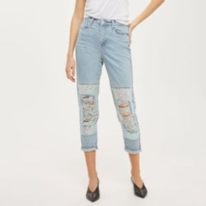 NWT Topshop moto distressed sequin knee mom jeans